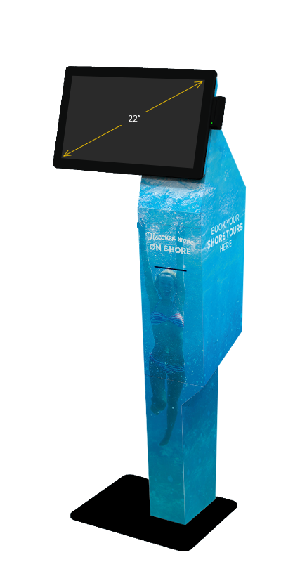 Our P21 kiosk, with a landscape 22-inch display