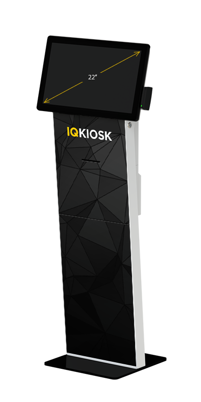 Our Slimline kiosk, with a 22-inch display, card swipe and receipt printer